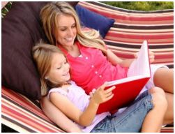 Reading mom and girl