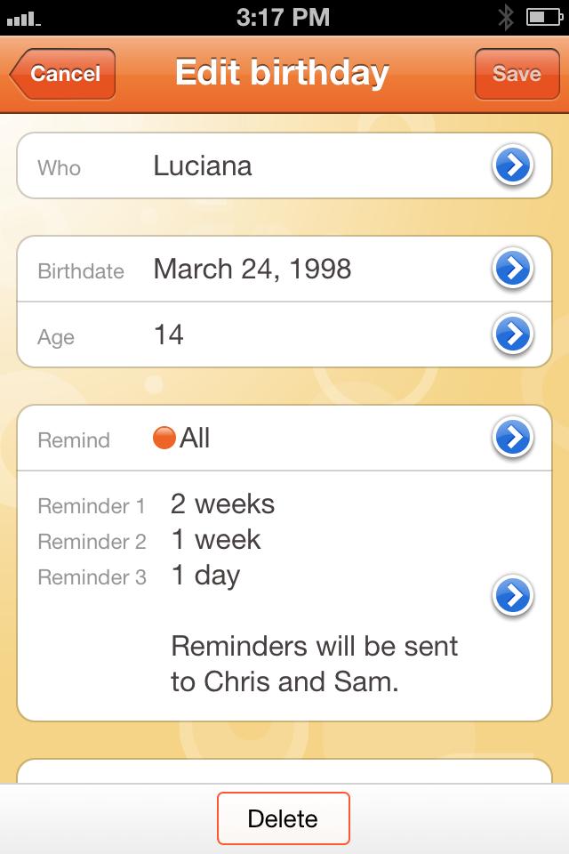 Birthday Tracker Edit