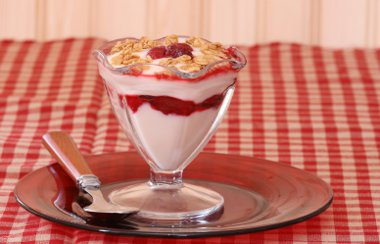 Yogurt and fruit parfait with granola in a fancy dish on a red plate