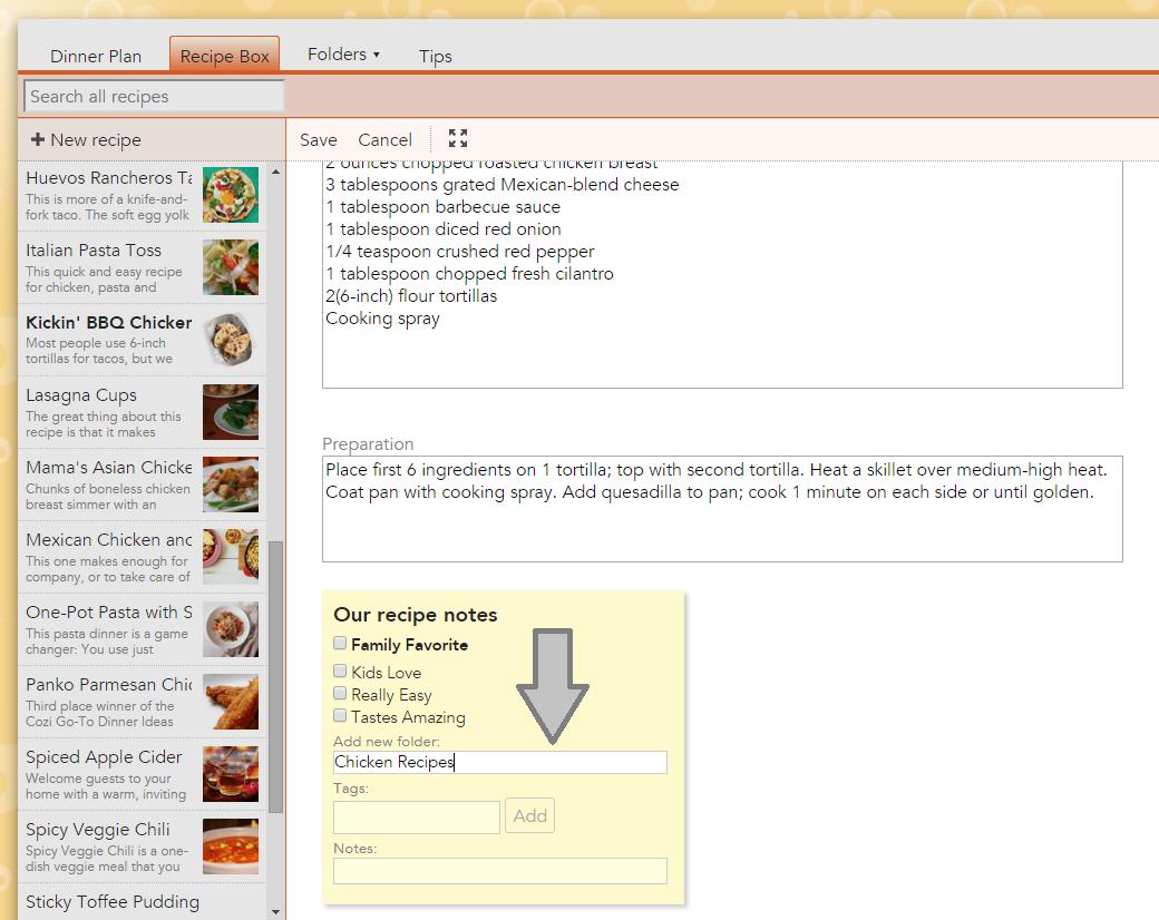 Cozi Recipe Box Folders 2