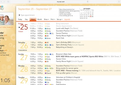 Web Calendar Screenshot
