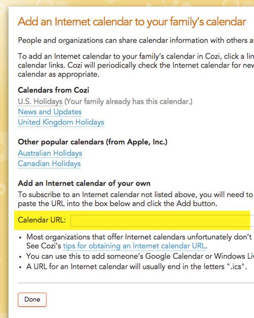 Add external calendar to Cozi