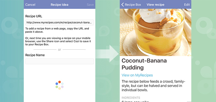 Getting started with cozi meals cozi family organizer box in the cozi app and tap in the upper right hand corner from there paste the url into the recipe url field and tap save voila forumfinder Choice Image