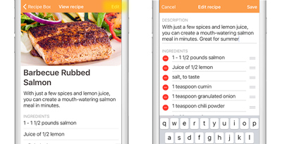 Edit recipes in app