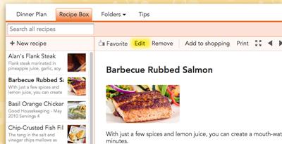 Edit recipe on the web