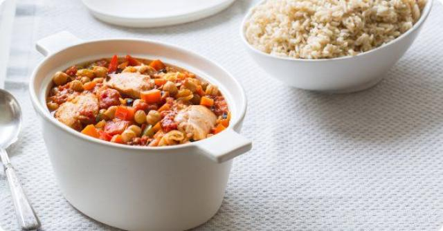 Braised Chicken with Olives and Chickpeas