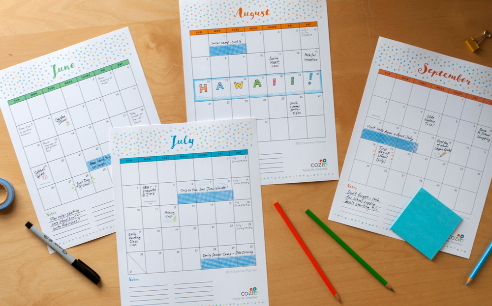 printable calendar summer planner